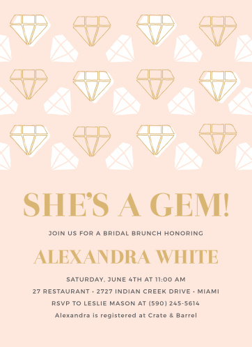 Celebrate the sparkling bride-to-be with the She's a Gem Bridal Foil Shower Invitations