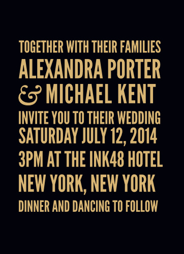 Bold fonts in block text create the distinct look of the Modern Poster Foil Wedding Invitations.