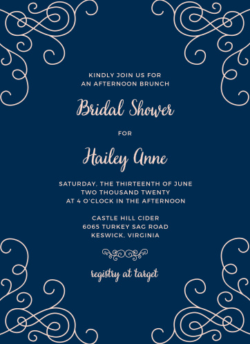 Gorgeously ornate swirls surround party information on the Modern Love Bridal Shower Invitations.