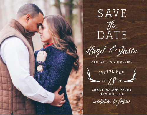 Add your engagement photo to the Rustic Wood Photo Save-the-Date Cards.