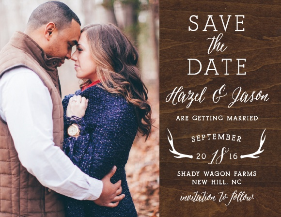 Add your engagement photo to the Rustic Wood Photo Save-the-Date Magnets.