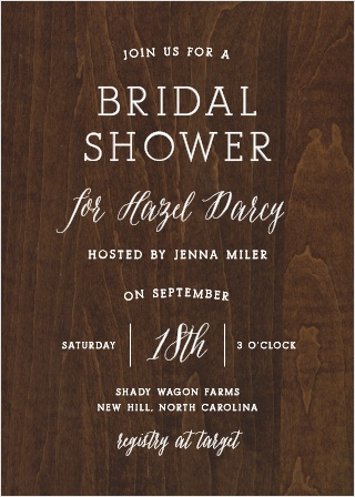 The Rustic Wood Bridal Shower Invitations are the perfect balance of country and elegance.