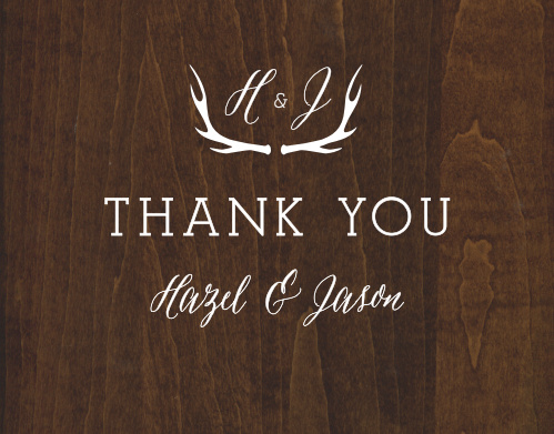 Finish your wedding stationery with the countrified elegance of the Rustic Wood Thank You Cards.