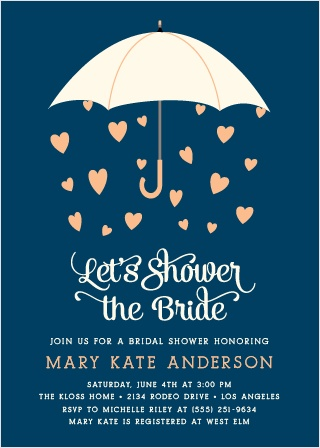 What does the forecast predict this wedding season? A bridal shower with the Raining Love Bridal Shower Invitations