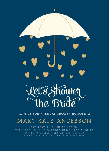 What does the forecast predict this wedding season? A bridal shower with the Raining Love Foil Bridal Shower Invitations.