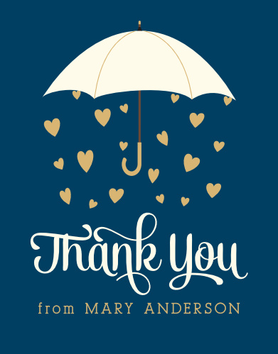 Thank all the guests who showered you with love using the Raining Love Foil Bridal Shower Thank You Cards.