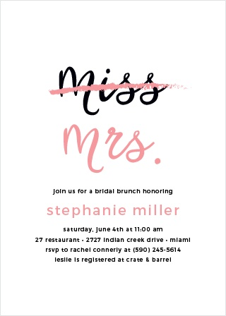 Throw a party in honor of the bride-to-be with the Miss to Mrs. Bridal Shower Invitations.