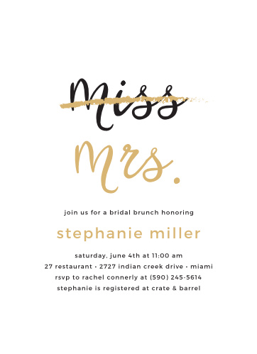 Throw a party in honor of the bride-to-be with the Miss to Mrs Foil Bridal Shower Invitations.