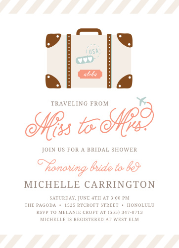 Throw your travel-themed party with the Cutesy Carry On Bridal Shower Invitations.