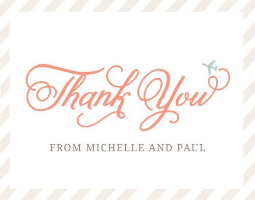 Thank guests for attending your travel-themed party with the Cutesy Carry On Bridal Shower Thank You Cards.