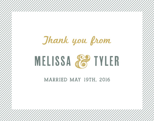 Finish your wedding stationery with the vintage style of the Snappy Slanted Border Thank You Cards.