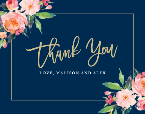 Blossoming watercolor florals, a skinny frame, and your wording makes the Standing Ovation Thank You Cards a beautiful way to show your gratitude.
