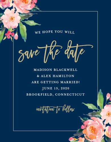 Blossoming watercolor florals adorn the corners of Standing Ovation Save-the-Date Cards.