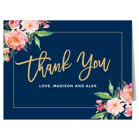 Blossoming watercolor florals, a skinny frame, and your wording makes the Standing Ovation Foil Thank You Cards a beautiful way to show your gratitude. And our real gold or silver foil adds an extra bit of shine to this design! Use our palette of over 160 custom colors to make this design reflect your personal style.