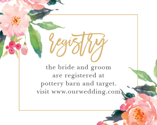 Give guests your wedding wish list with the Standing Ovation Foil Registry Cards. These small enclosure cards are part of the Crafty Pie Collection at Basic Invite. Customize their watercolor florals and thin border with our palette of over 160 custom colors, including our real gold or silver foil. This design is also available with your choice of over 100 hand-picked fonts.