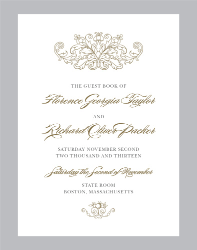 The Vintage Damask Guest Book is a gorgeous choice for your formal wedding.