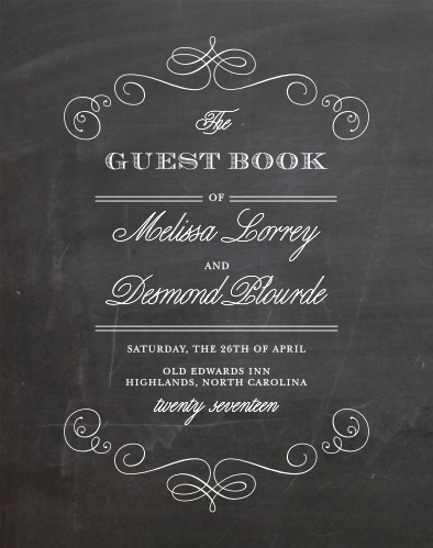 Collect signatures from your wedding guests with the Fancy Chalkboard Guest Book.