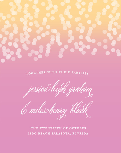 The Confetti Ombre Guest Book is the perfect complement to the Confetti Ombre Wedding Invitation Suite.