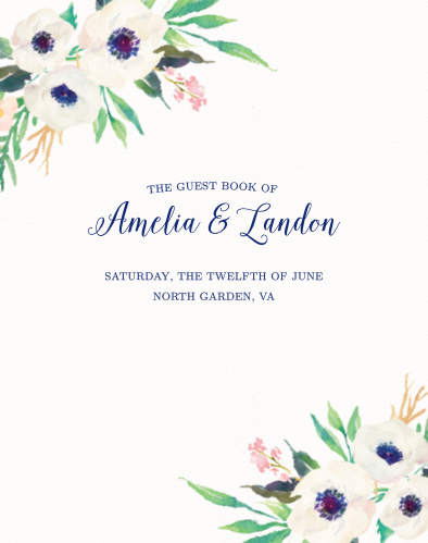 Invite guests to celebrate your union with the Watercolor Anemone Guest Book from the Crafty Pie Collection at Basic Invite.