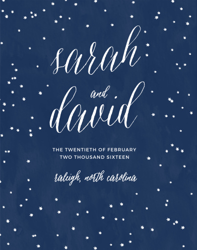 A scattering of hand-drawn style stars rests upon a watercolor background on the Under the Stars Guest Book.