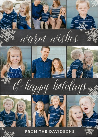 Falling snowflakes and nine of your family's snapshots festoon the Decorated Filmstrip Holiday Cards.