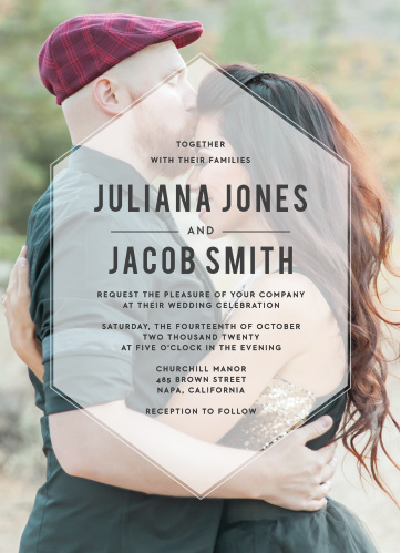 Invite friends and family to your wedding with the modern glam of the Hexagon Fade Photo Wedding Invitations.