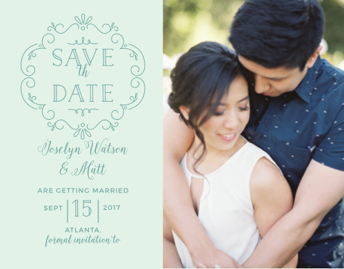Stylized florals create whimsy on the Glowing Garden Photo Save-the-Date Magnets.
