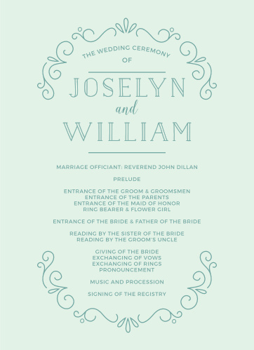 The Glowing Garden Wedding Programs complement a whimsical wedding theme.