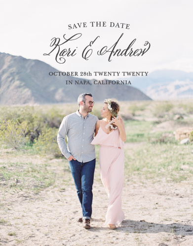 Your photo is a stunning backdrop to your text on the Timeless Script Photo Save-the-Date Cards.