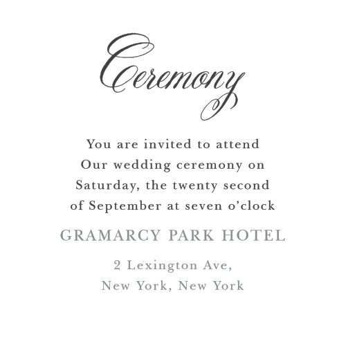 The Timeless Script Ceremony Cards are small and versatile enclosure cards featuring a flourishing title font.