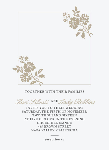 Delicate flower illustrations adorn your photo on the Rose Stamped Photo Wedding Invitation.