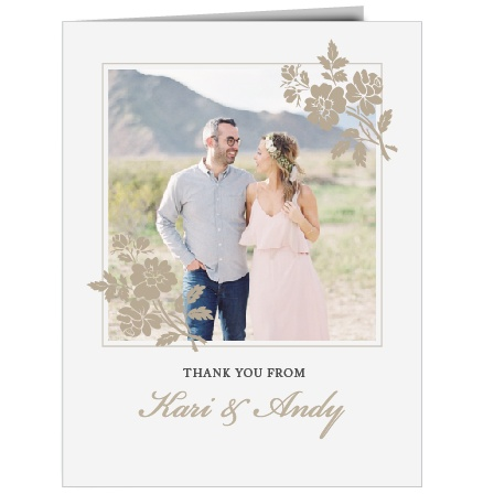 Rose Stamped Thank You Cards