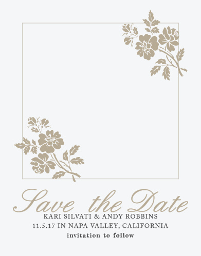 Delicate flower illustrations decorate the corners of your picture on the Rose Stamped Photo Save-the-Date Cards.