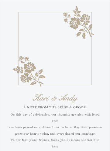 Write a personal message beneath your photo on the front of the Rose Stamped Wedding Programs.