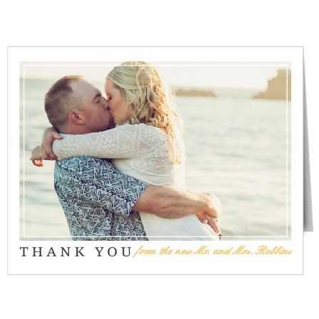After the honeymoon is over and you've unwrapped all your wedding presents, convey your gratitude to wedding guests with the Brilliant Banner Thank You Cards.