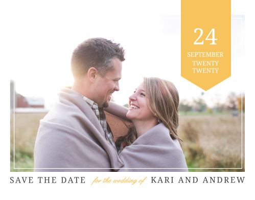 Reserve your wedding's spot on guests' calendars with the Brilliant Banner Save-the-Date Cards.