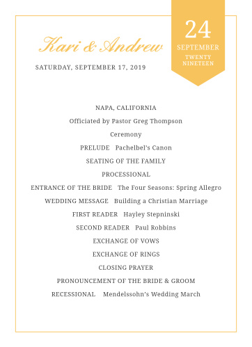 Organize your ceremony with the Brilliant Banner Wedding Programs.