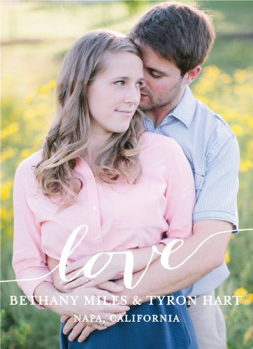 Invite friends and family to celebrate your upcoming wedding with the Love Script Wedding Invitations.