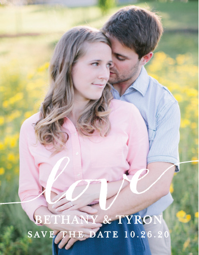 Declare your love with the Love Script Save-the-Date Magnets.