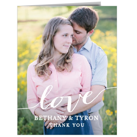 Express your gratitude with the Love Script Thank You Cards.