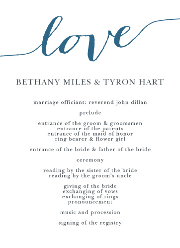 "The word ""love"" in a gorgeous font is written on the top front of the Love Script Wedding Programs."