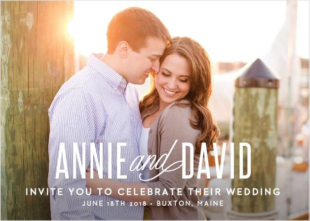 Traditional Script Photo Wedding Invitations
