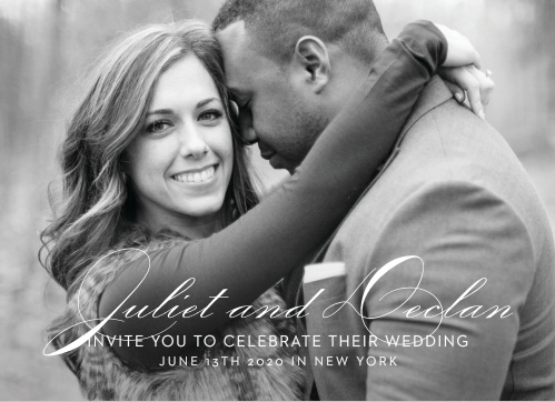 Share your engagement photo with the Classic Script Photo Wedding Invitations.