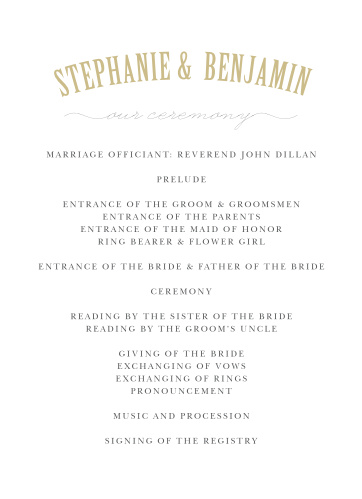Organize your ceremony with the clean sophistication of the Polaroid Story Wedding Programs.