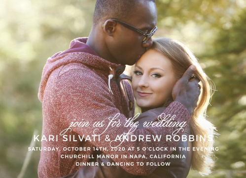 Your engagement photo is the focus of the Exquisite Class Wedding Invitations.
