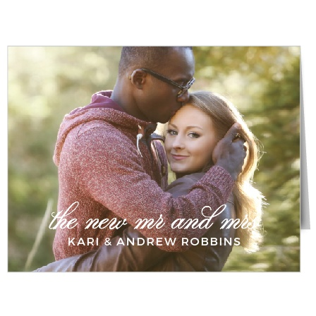 Make a wedding photo the background to the Exquisite Class Thank You Cards.