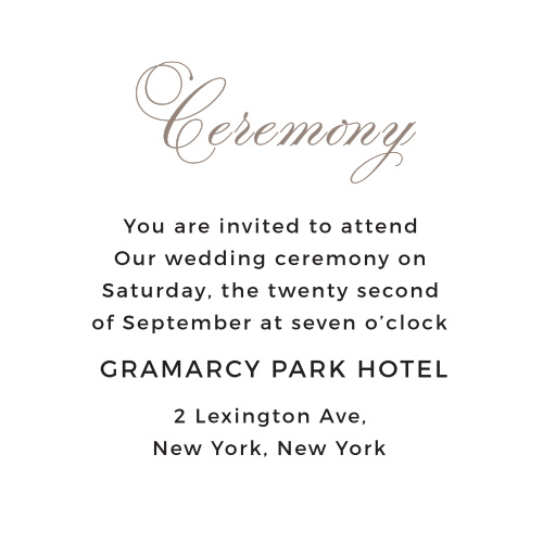 Make sure guests have all the information they need with the Exquisite Class Ceremony Cards.