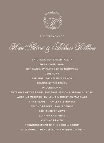 Set the tone for your wedding ceremony with the Exquisite Class Wedding Programs.