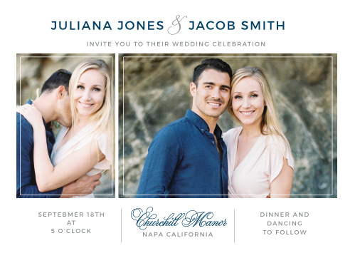Thin lines frame two of your engagement photos on the Contemporary Frame Wedding Invitations.