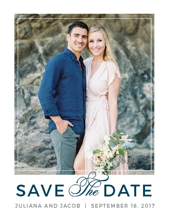 A chic photo frame and the sophisticated fonts of the Contemporary Frame Save-the-Date Cards set the tone for your wedding.